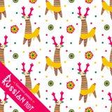 Filimonovo toy penny whistle deer. Seamless pattern Stock Photo