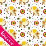 Filimonovo toy penny whistle elephant. Seamless pattern Stock Photography