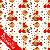 Filimonovo toy penny whistle fox. Seamless pattern Royalty Free Stock Image