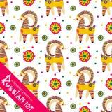 Filimonovo toy penny whistle goat. Seamless pattern Royalty Free Stock Photo