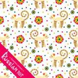 Filimonovo toy penny whistle monkey. Seamless pattern Stock Images