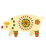 Filimonovo toy penny whistle pig. Vector toy pig with pattern in national Russian Filimonovo  ornament isolated on background Royalty Free Stock Photos