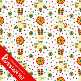Filimonovo toy penny whistle rabbit. Seamless pattern Royalty Free Stock Images