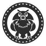 Filin. Black owl in a circle. Emblem or logo Stock Photo