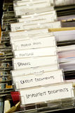 Filing. Detail of a filing cabinet with tabs labelled for important documents, credit documents, etc Royalty Free Stock Image