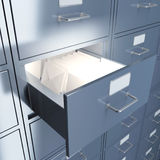 Filing cabinet. For documents with letters. 3d render illustration Royalty Free Stock Photos