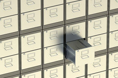 Filing cabinet. Archive room 3d Stock Images