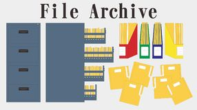Filing cabinet binder data folder vector. Filing cabinet, entry data saving, file folder. archive for document in vector illustration Royalty Free Stock Photography