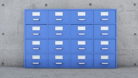 Filing cabinet, document collectors, metal cabinet with drawers and labels. 3d rendering Stock Images