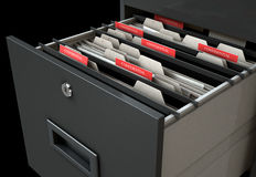 Filing Cabinet Drawer Open Confidential. A 3D render closeup view of an open filing cabinet drawer revealling confidential related documents inside Royalty Free Stock Image