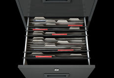 Filing Cabinet Drawer Open Confidential. A 3D render closeup view of an open filing cabinet drawer revealling confidential related documents inside Stock Image