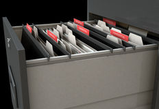 Filing Cabinet Drawer Open Confidential. A 3D render closeup view of an open filing cabinet drawer revealling confidential related documents inside Stock Photos