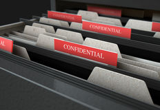Filing Cabinet Drawer Open Confidential. A 3D render closeup view of an open filing cabinet drawer revealling confidential related documents inside Stock Images