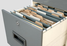 Filing Cabinet Drawer Open Generic. A 3D render closeup view of an open filing cabinet drawer revealling generic documents inside Royalty Free Stock Image