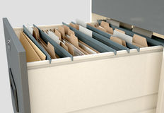 Filing Cabinet Drawer Open Generic. A 3D render closeup view of an open filing cabinet drawer revealling generic documents inside Royalty Free Stock Photos