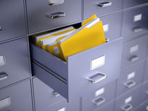 Filing cabinet. With folders - 3d render Royalty Free Stock Image