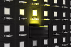 Filing cabinet with light. 3D image Stock Images