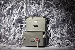 Filing Cabinet and Shredded Paper Royalty Free Stock Photo