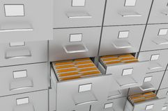 Filing cabinet with yellow folders in an open drawers. Data collection concept. 3D rendered illustration Stock Images