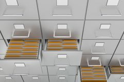 Filing cabinet with yellow folders in an open drawers. Data collection concept. 3D rendered illustration Royalty Free Stock Images