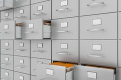 Filing cabinet with yellow folders in an open drawers. Data collection concept. 3D rendered illustration Stock Photography