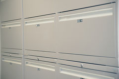Filing Cabinets. Rows of office filing cabinets Stock Image