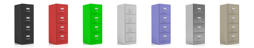Filing cabinets isolated on white background. 3d illustration Stock Photos