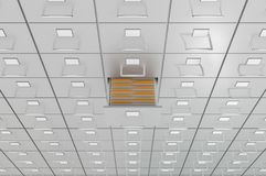Filing cabinets with open drawer - data collection concept. 3D rendered illustration Royalty Free Stock Photo
