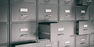 Filing cabinets and open drawers. 3d illustration Stock Photography