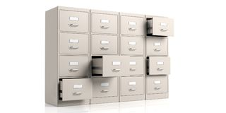 Filing cabinets on white background. 3d illustration Stock Photos