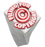 Filing for Copyright Protection Symbol on Tall Stack of Papers D. Filing for Copyright 3d words on a stack of papers and documents you must fill out to safeguard Royalty Free Stock Photo
