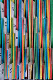 Filing documents. Documents folders sorted for archive with colors and numbers Stock Photography