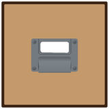 Filing drawer. Close up of a blank, white label in label holder on filing cabinet drawer. Vector illustration Stock Photos