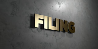 Filing - Gold sign mounted on glossy marble wall  - 3D rendered royalty free stock illustration Stock Images