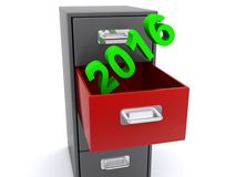 Filing 2016. 2016 in green block text being filed into red drawer on grey filing cabinet on white background Stock Images