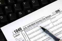 Filing the income tax return online Stock Photo