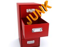 Filing junk. Junk in orange block text being filed into open drawer of red filing cabinet on white background Stock Image