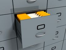 Filing office cabinet with yellow folders. 3d Stock Image
