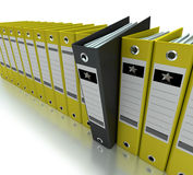 Filing, organizing archives. 3D rendering of a line of office ring binders Royalty Free Stock Image