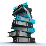 Filing, organizing archives. 3D rendering of a pile of office ring binders Stock Photo