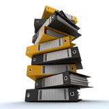 Filing, organizing archives. 3D rendering of a pile of office ring binders Stock Images