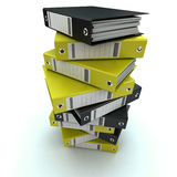 Filing, organizing archives. 3D rendering of a pile of office ring binders Stock Photos