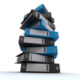 Filing, organizing archives. 3D rendering of a pile of office ring binders Royalty Free Stock Photos