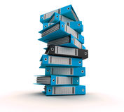 Filing, organizing archives. 3D rendering of a pile of office ring binders Royalty Free Stock Images