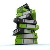 Filing, organizing archives. 3D rendering of a pile of office ring binders Stock Photography
