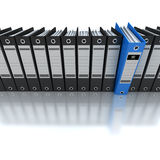 Filing and organizing information. 3D rendering of a line of office ring binders with one sticking out Stock Photography