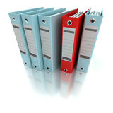 Filing and organizing information blue. 3D rendering of a line of office ring binders with one sticking out Royalty Free Stock Image