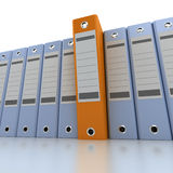 Filing and organizing information blue. 3D rendering of a line of office ring binders with one sticking out Stock Image