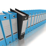 Filing and organizing information blue. 3D rendering of a line of office ring binders with one sticking out Stock Photos