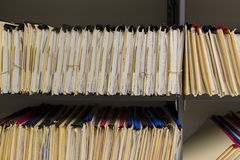Filing records. Shelves full of old paper records Royalty Free Stock Images